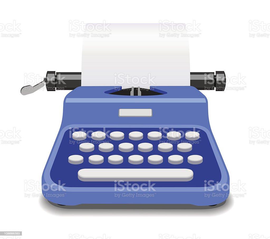 Blue Typewriter Vector Illustration royalty-free stock vector art
