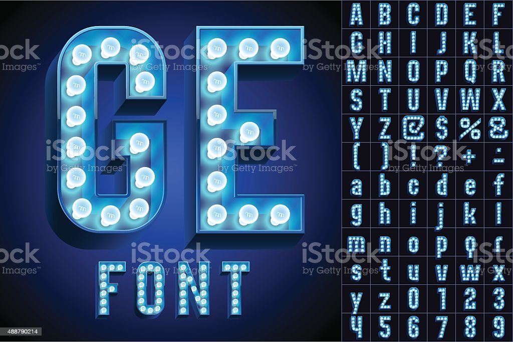 Blue ultimate realistic lamp board alphabet vector art illustration