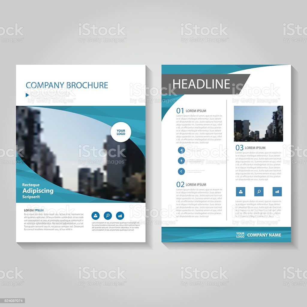 青いベクトルのパンフレット、年次レポートリーフレットフライヤーテンプレートデザイン ベクターアートイラスト