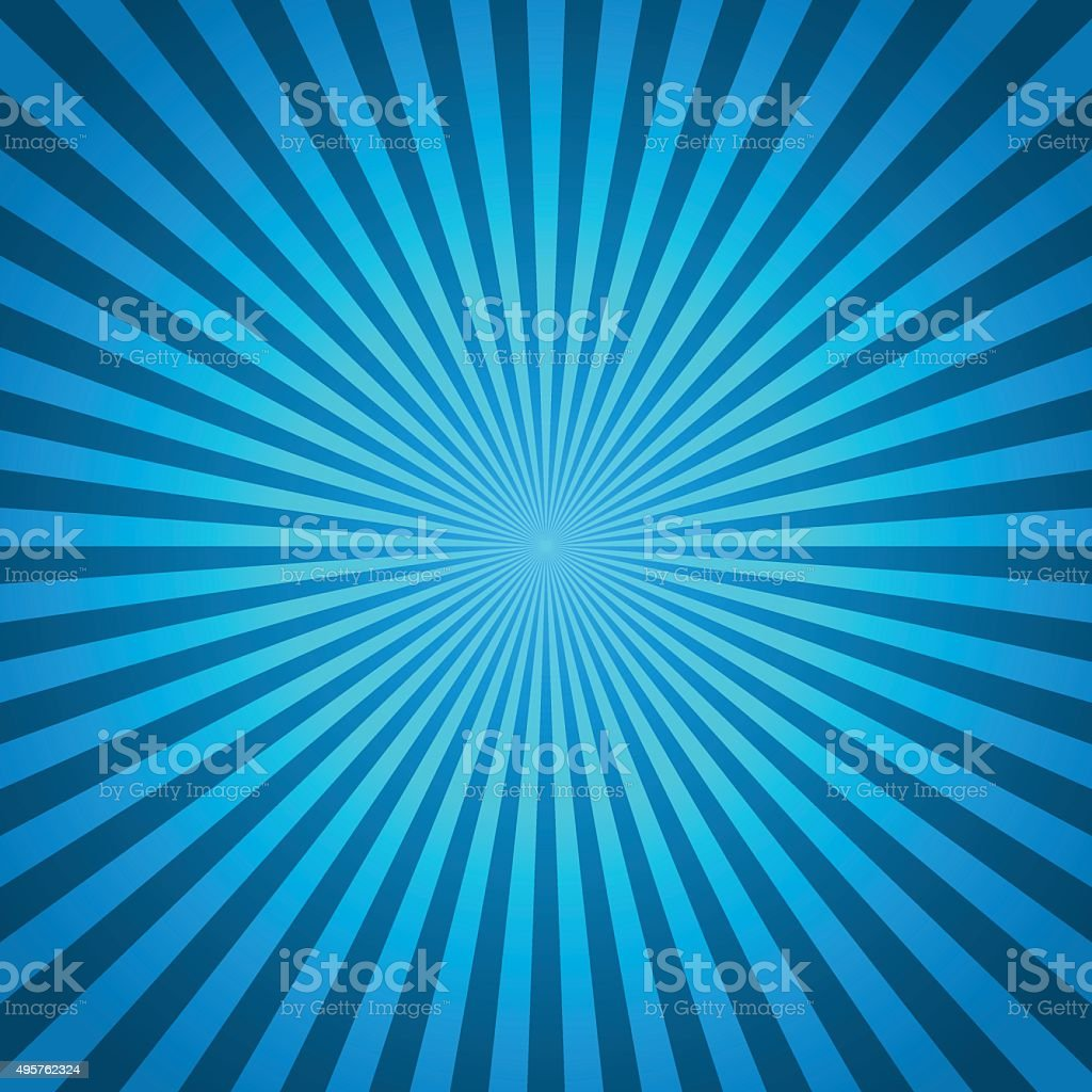 Blue vector background of radial lines. Comic book vector art illustration