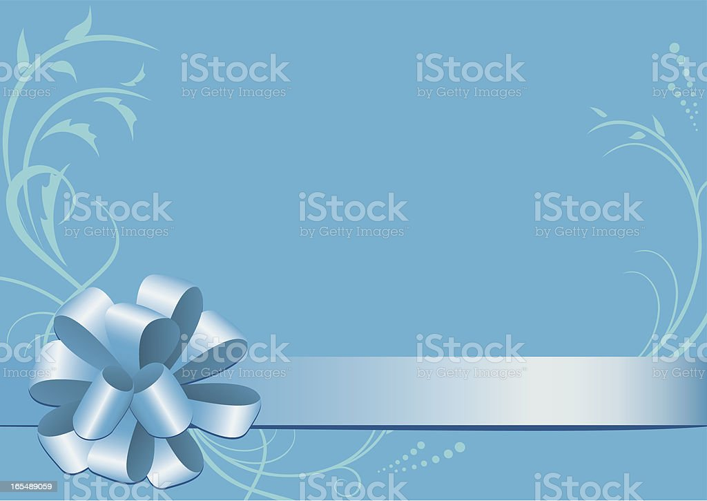 blue vector decorative card with bow-knot royalty-free stock vector art