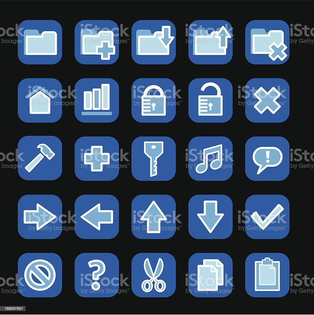 Blue vector icons royalty-free stock vector art