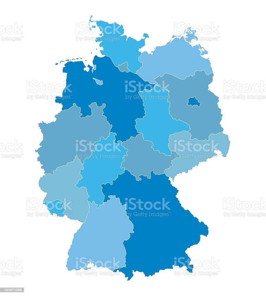 blue vector map of Germany vector art illustration
