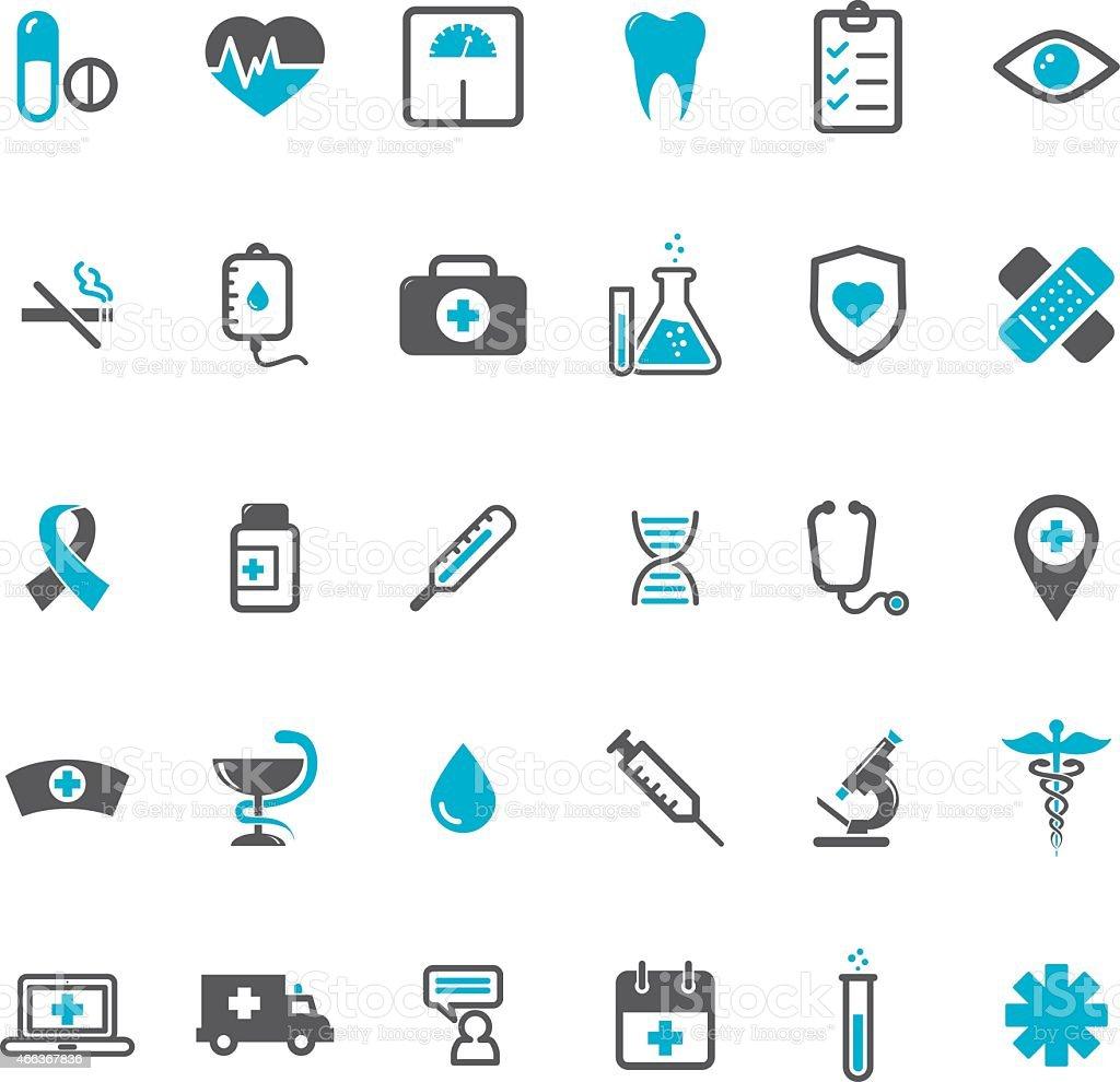 Blue vector medical icons set vector art illustration