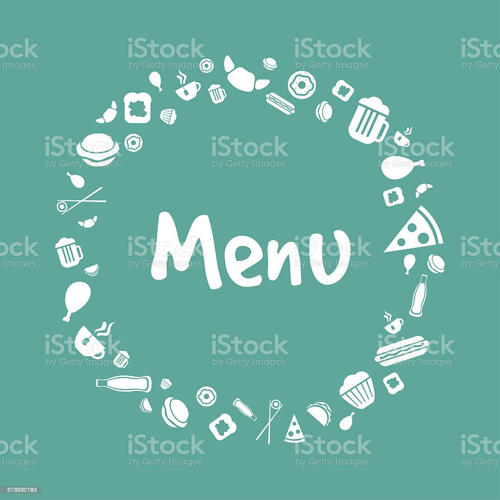 Blue vector menu cover with food icons set vector art illustration