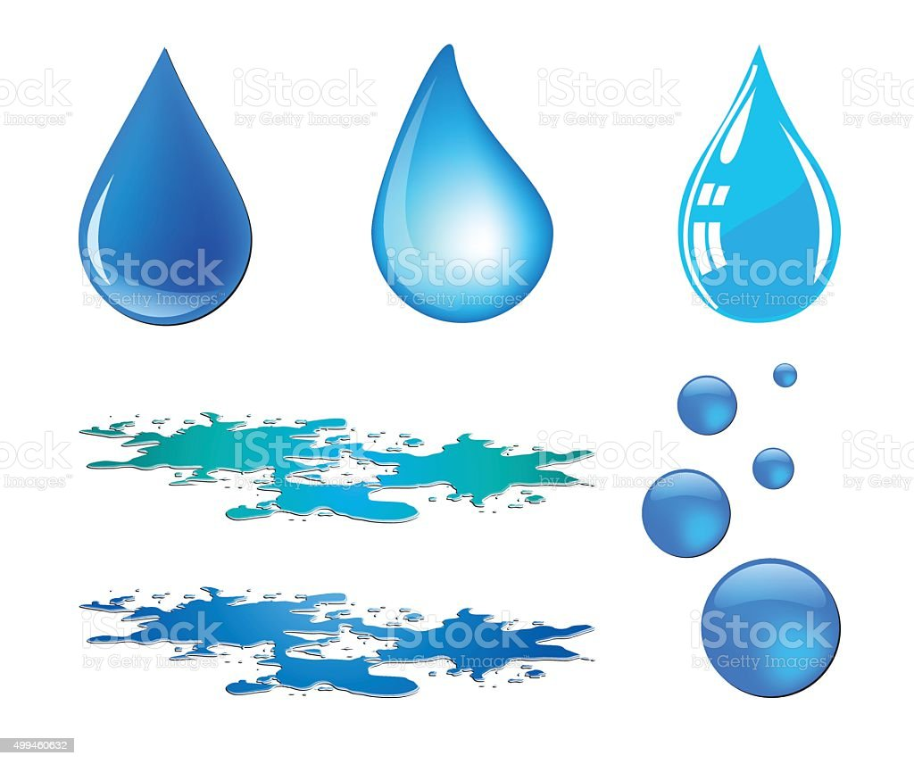 Blue vector waterdrop and puddle set isolated on white background vector art illustration