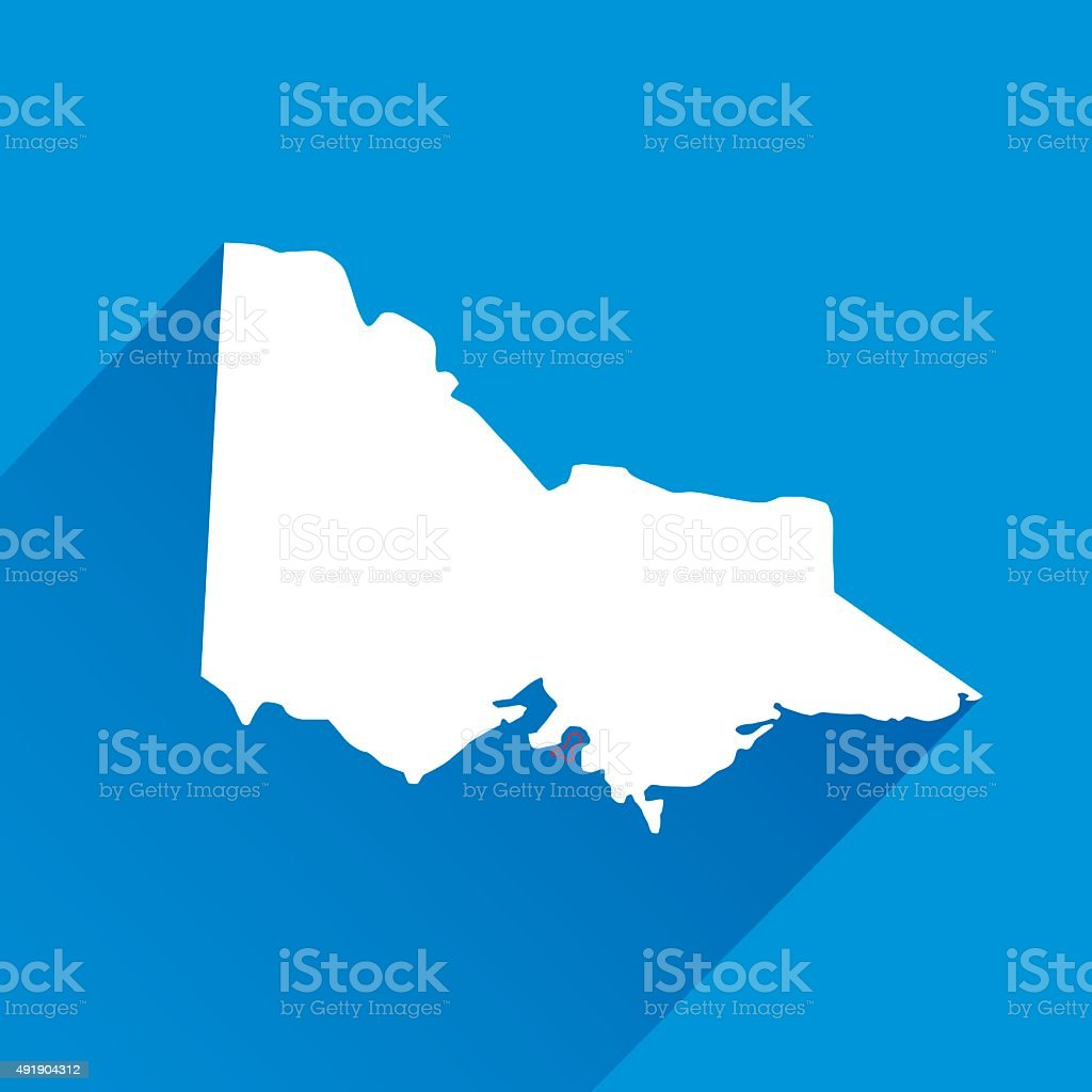 Blue Victoria Map Icon vector art illustration