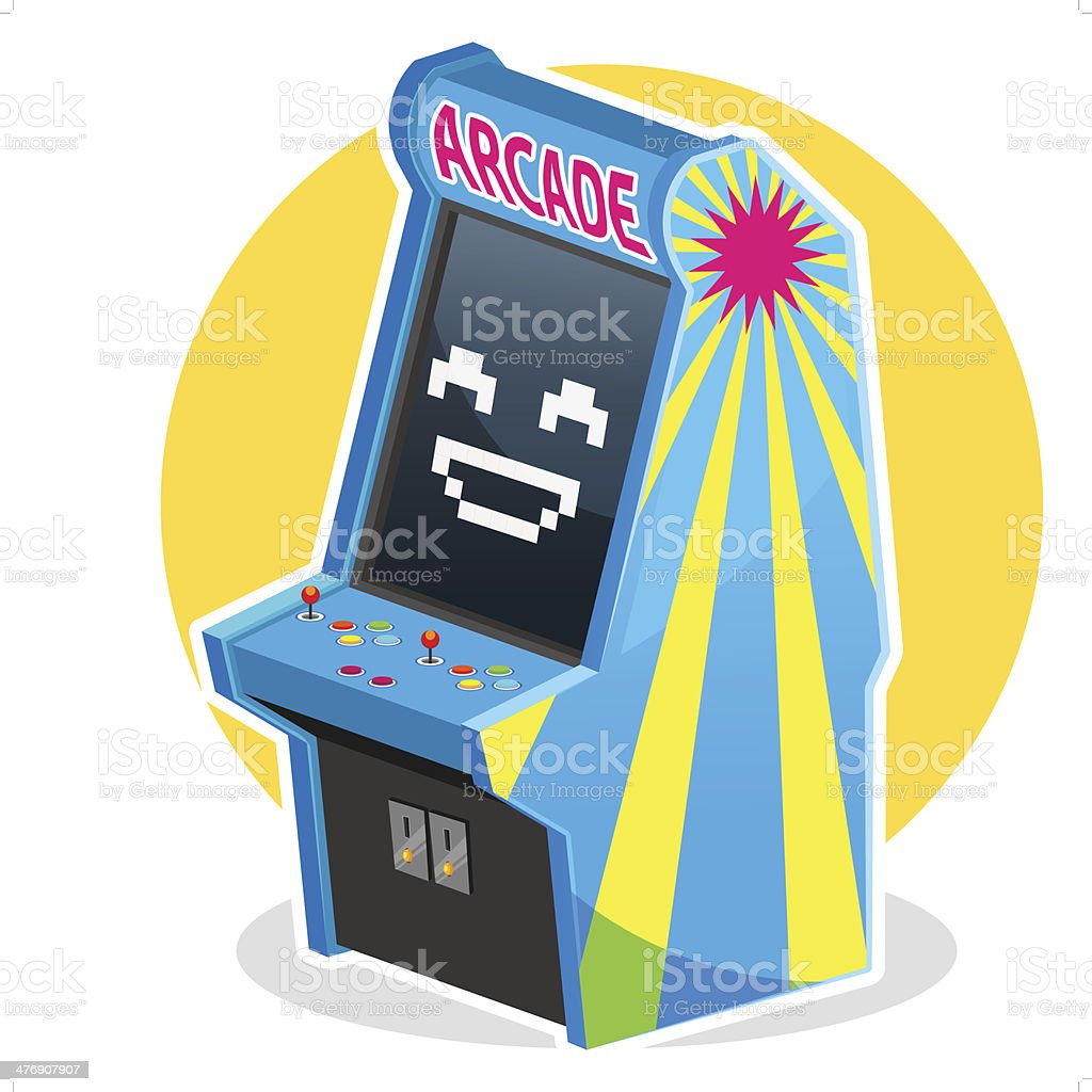 Blue Vintage Arcade Machine Game vector art illustration