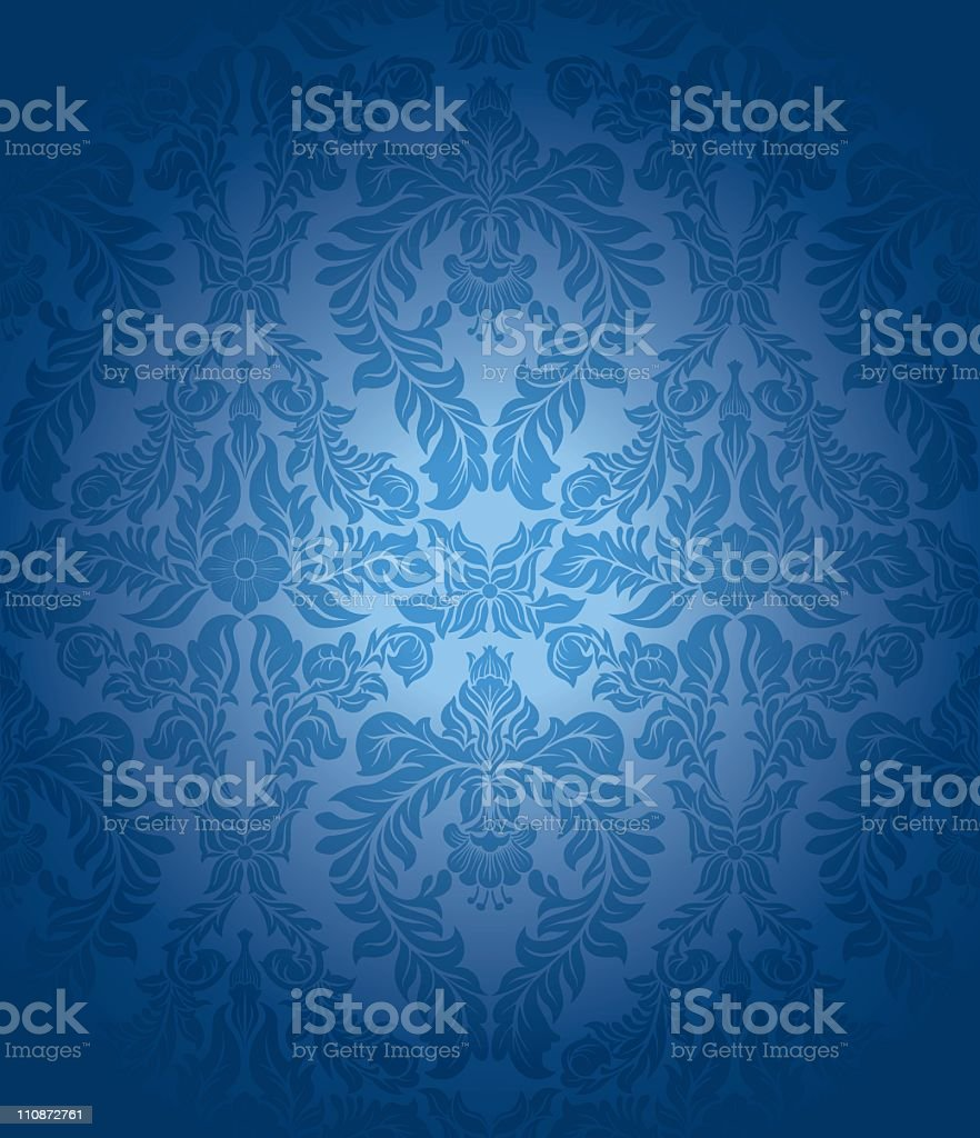 Blue vintage seamless wallpaper royalty-free stock vector art