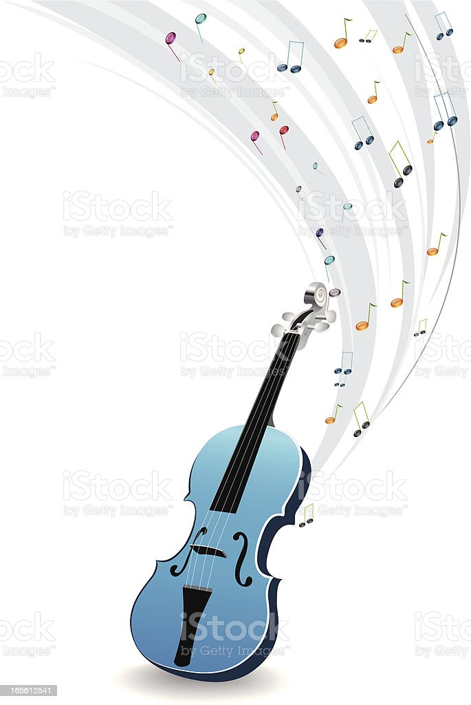 Blue violin with colorful musical notes royalty-free stock vector art