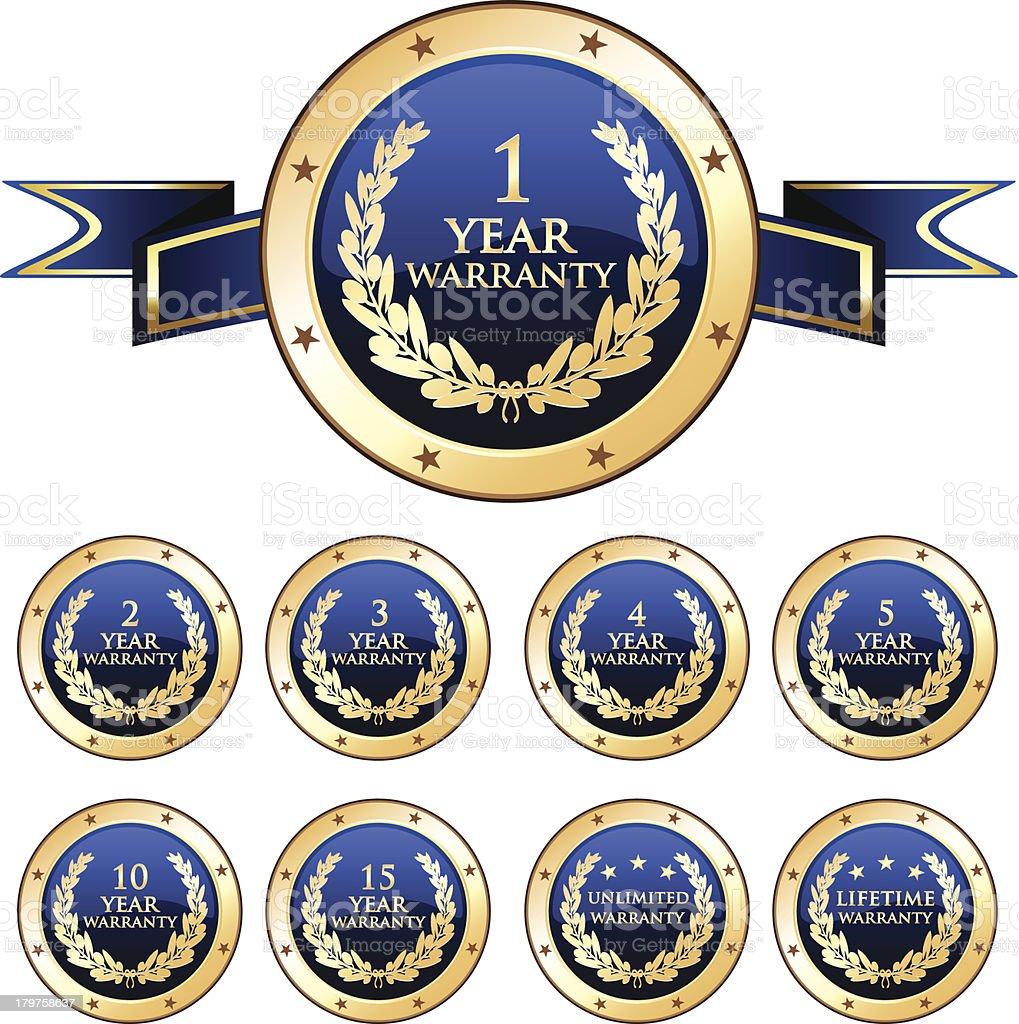 Blue Warranty Badge Set royalty-free stock vector art