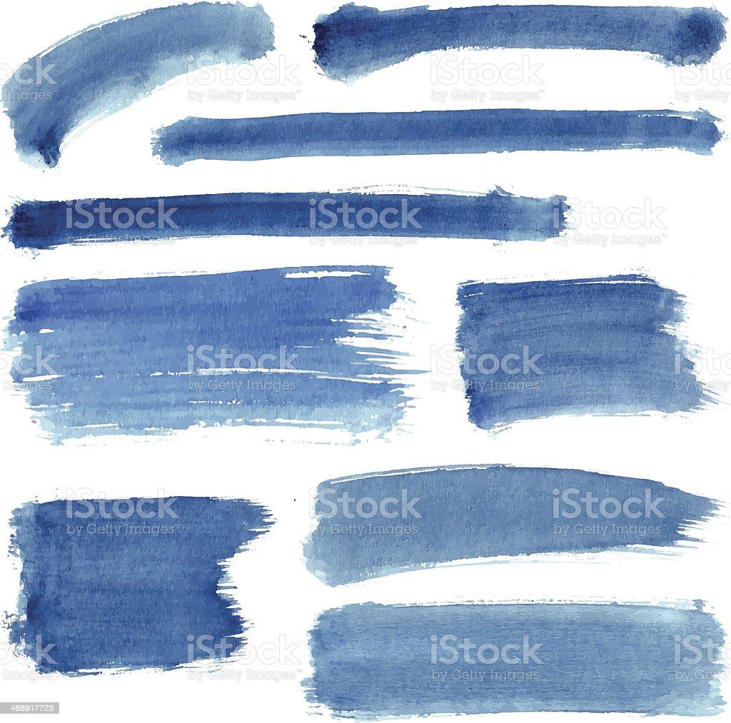 Blue Water Color Stroke Set vector art illustration