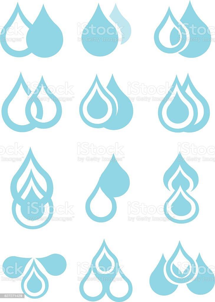 Blue Water Droplets Vector Icon Set vector art illustration