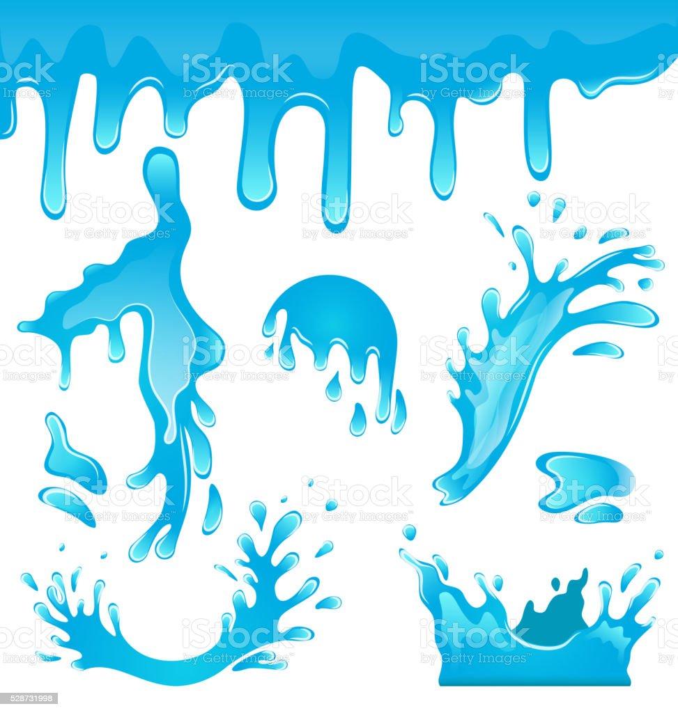 Blue Water Drops vector art illustration
