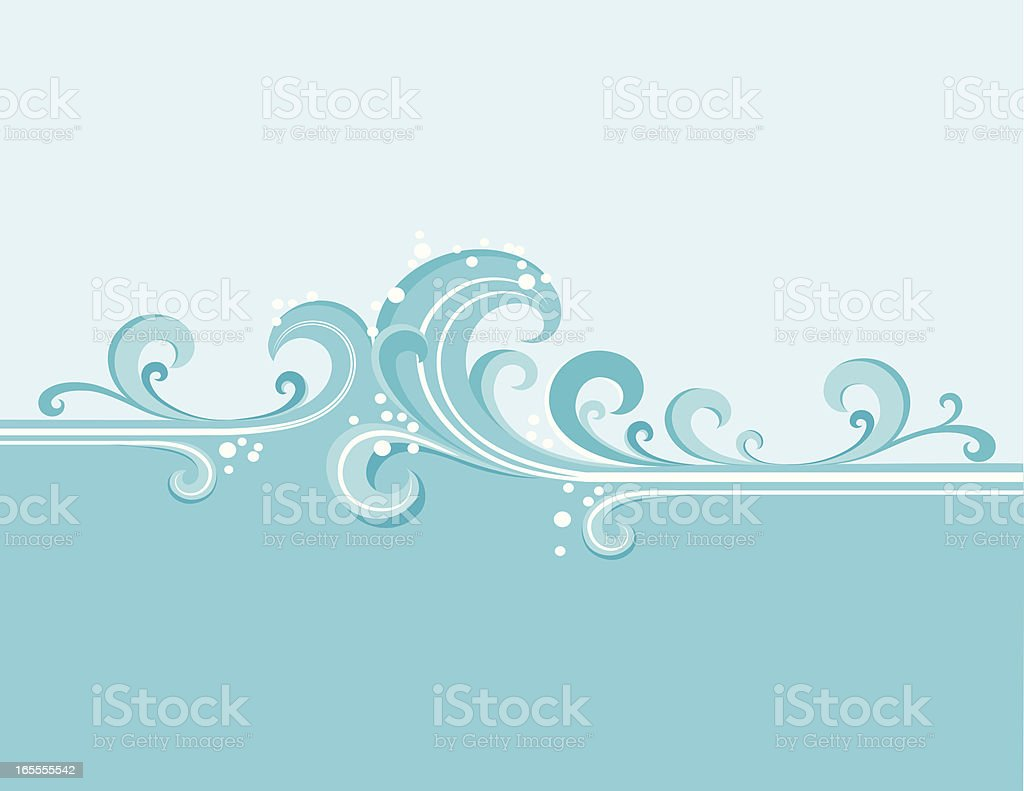 Blue Water Waves and Splashes royalty-free stock vector art