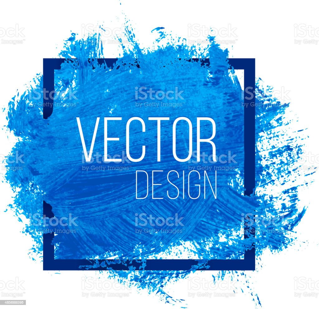 Blue Watercolor Blot In Square Frame vector art illustration