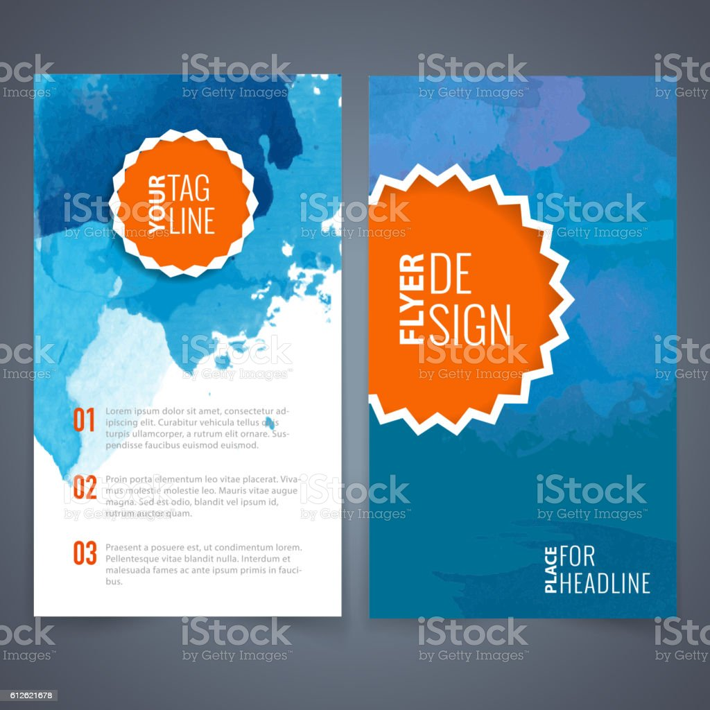 Blue Watercolor Flyer Template stock vector art 612621678 – Blue Flyer Template