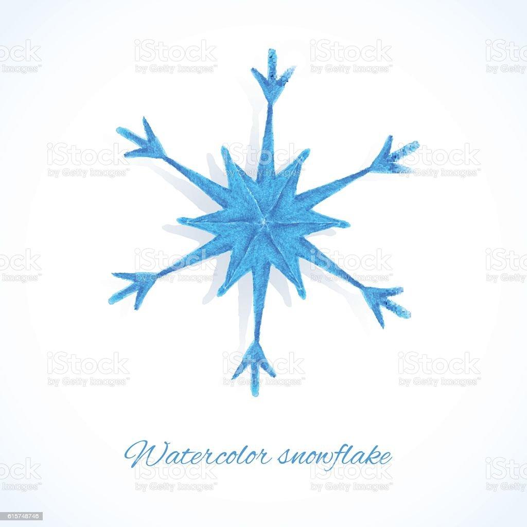 Blue watercolor snowflake vector art illustration
