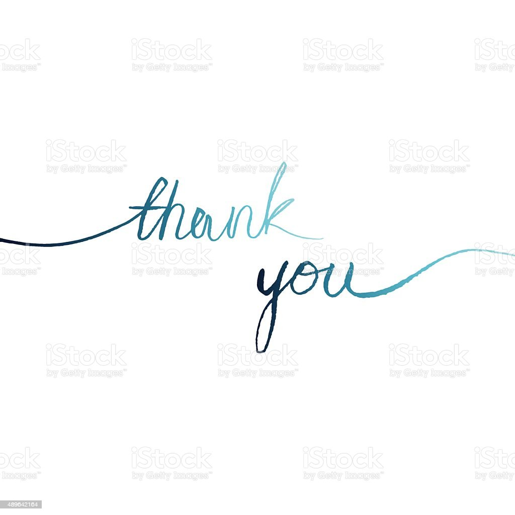 blue watercolor words line on a white background 'thank you' vector art illustration