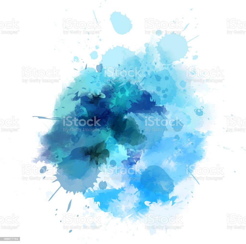 Blue watercolored blot vector art illustration