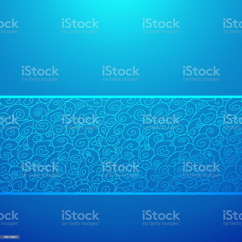 Blue wave horizontal ornamental background. Vector illustration royalty-free stock vector art