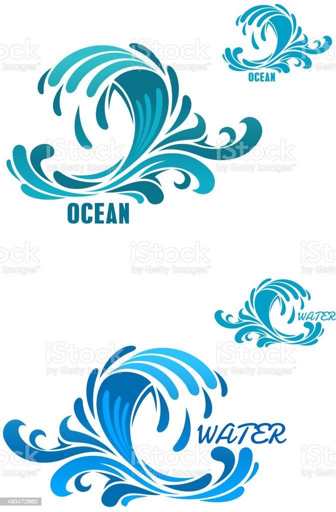 Blue wave icons with swirly water drops vector art illustration
