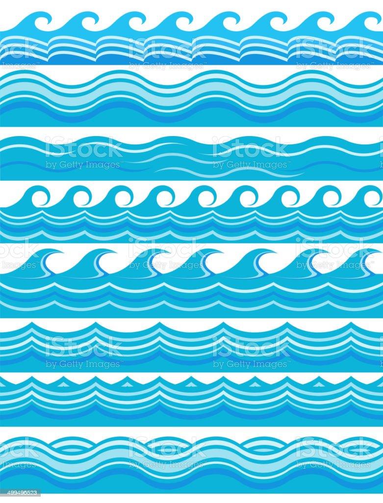 Blue wave patterns vector art illustration