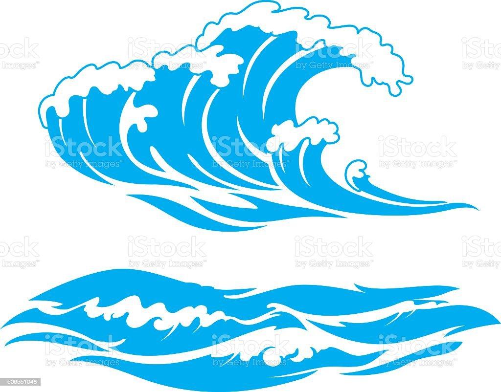 Blue Wave Surf vector art illustration