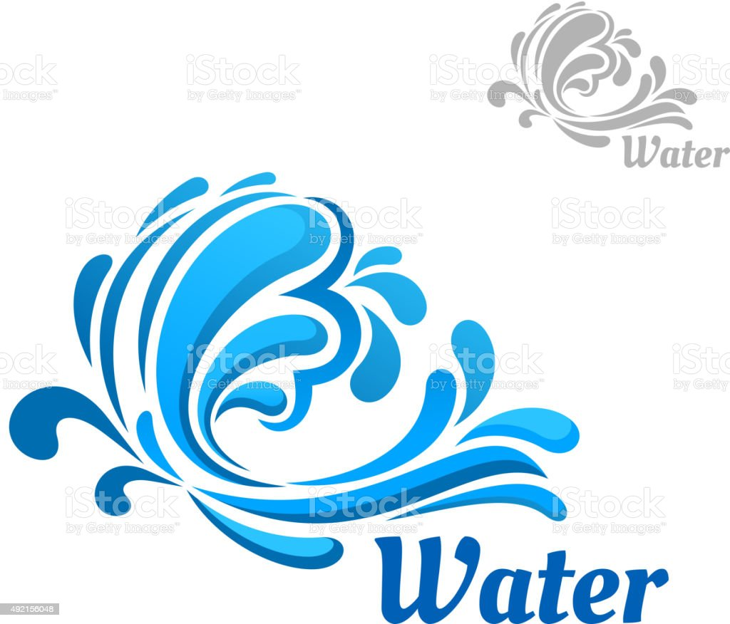 Blue wave with water splashes and drops vector art illustration