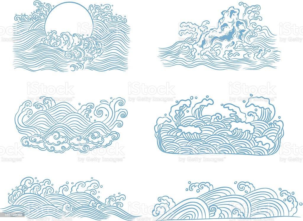 Blue waves royalty-free stock vector art