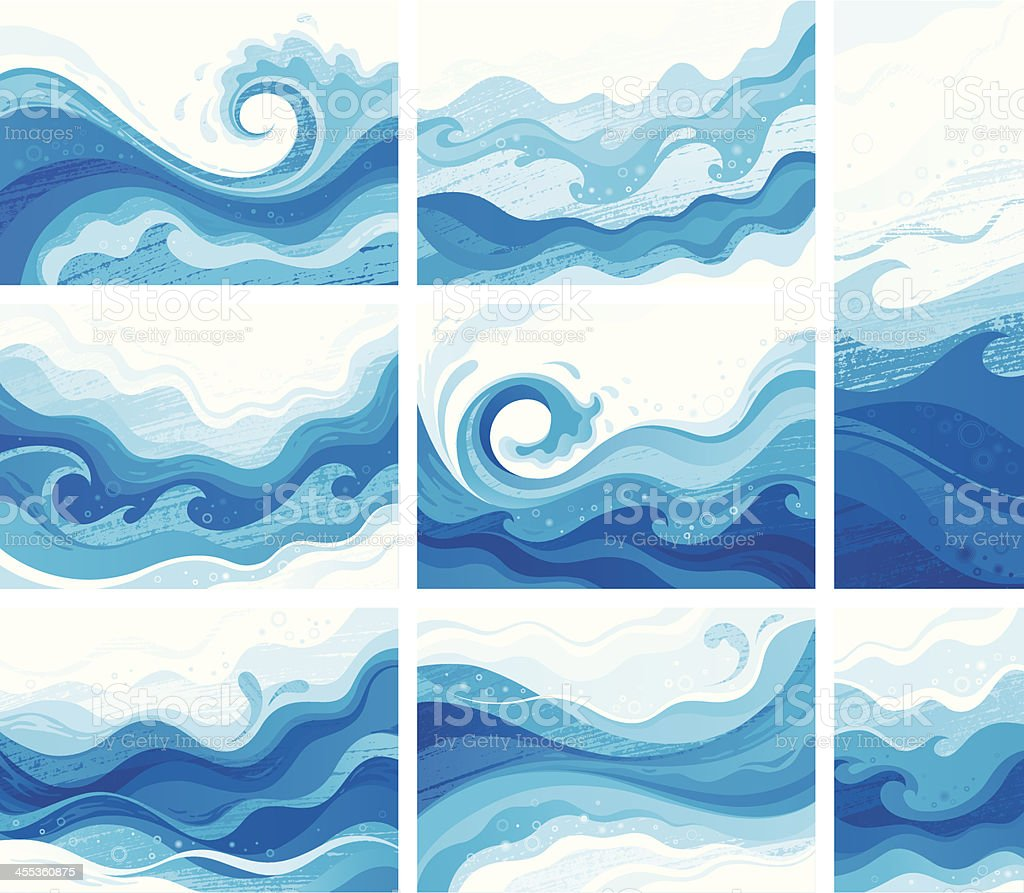 Blue waves vector art illustration