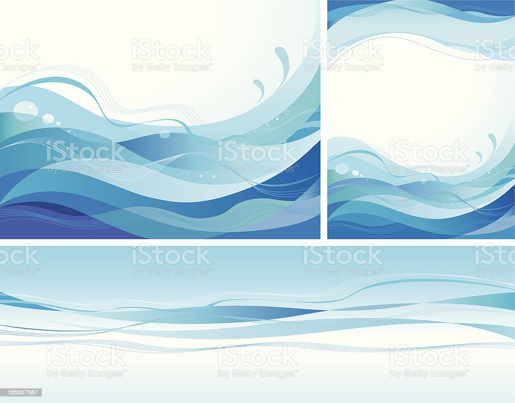 Blue wavy backgrounds royalty-free stock vector art