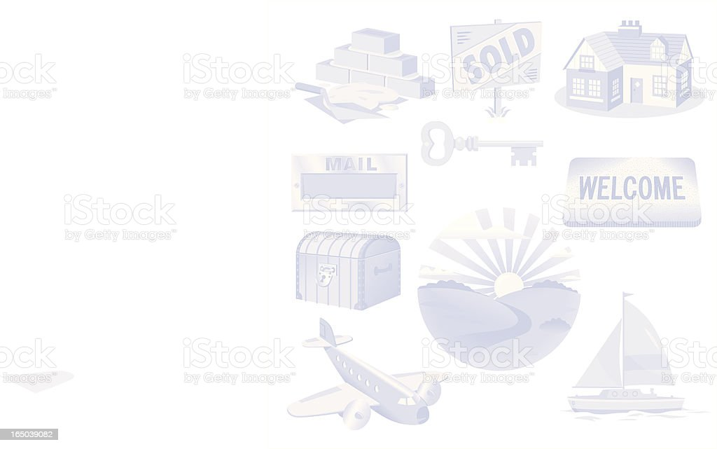 Blue Wealth Icons royalty-free stock vector art