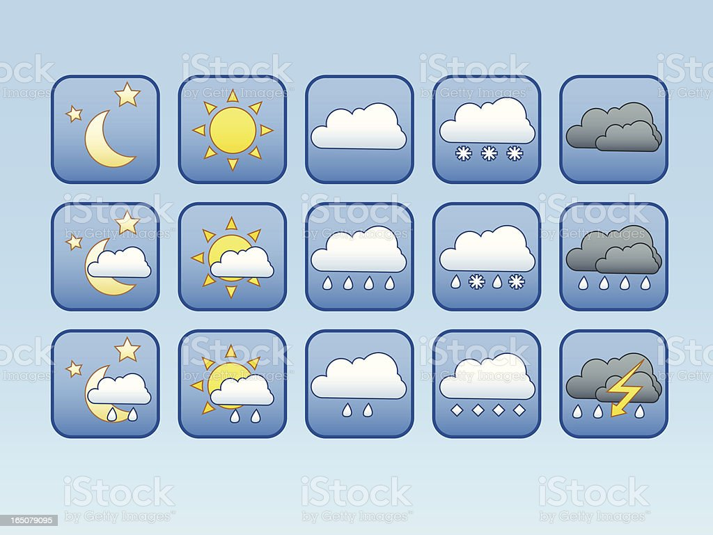 Blue Weather Icons vector art illustration