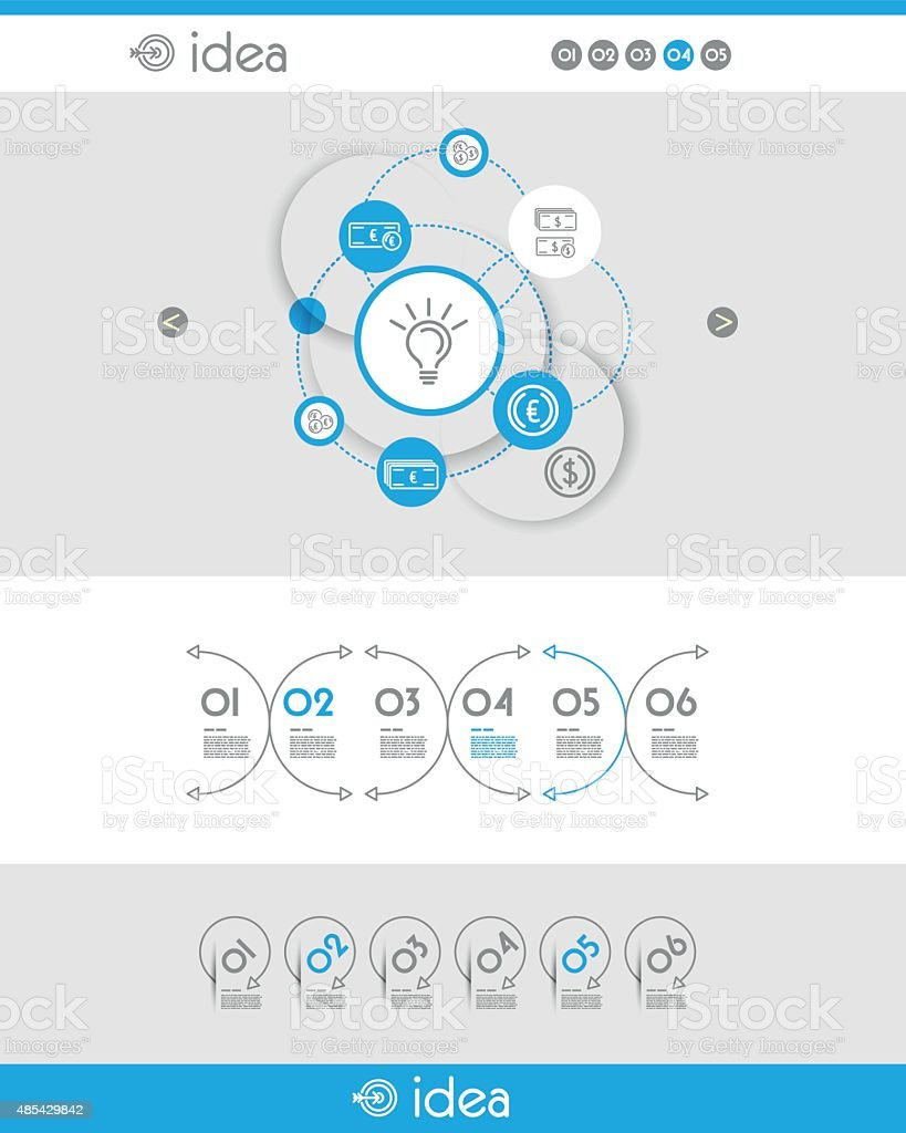 blue web template with idea vector art illustration