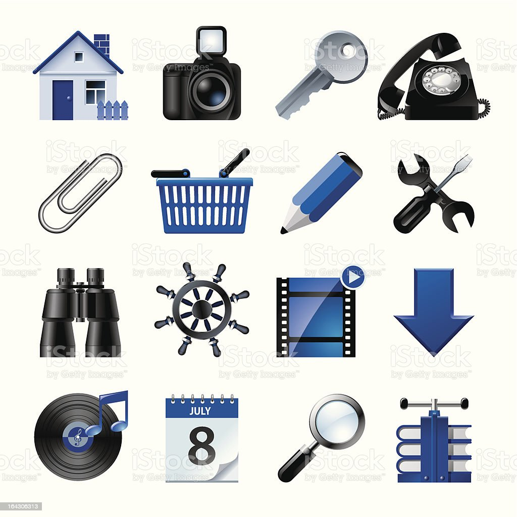 Blue website and internet icons 2 vector art illustration