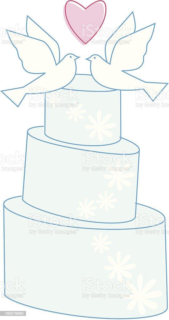 Blue Wedding Cake vector art illustration