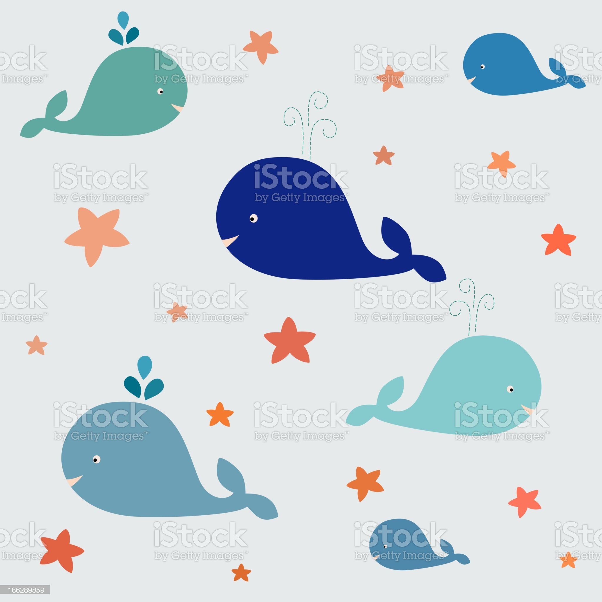 Blue whales with sea stars in vector royalty-free stock vector art
