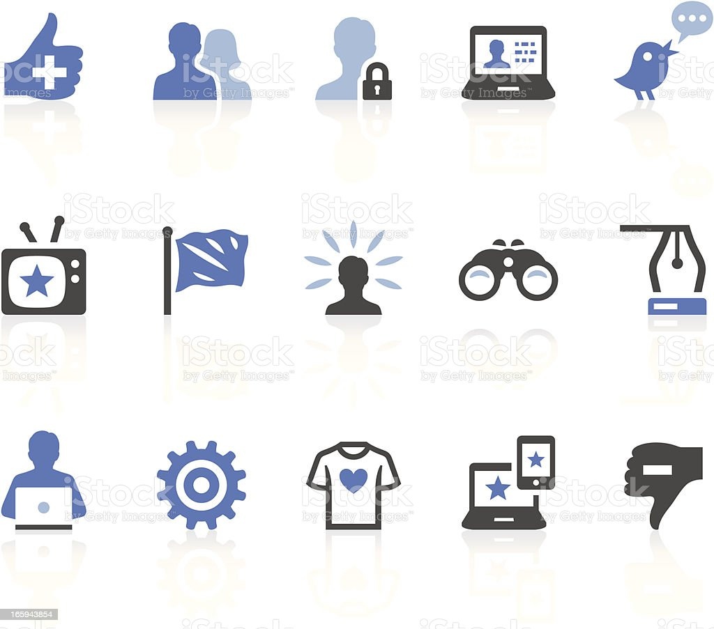 Blue, white and black social media icons on white background royalty-free stock vector art
