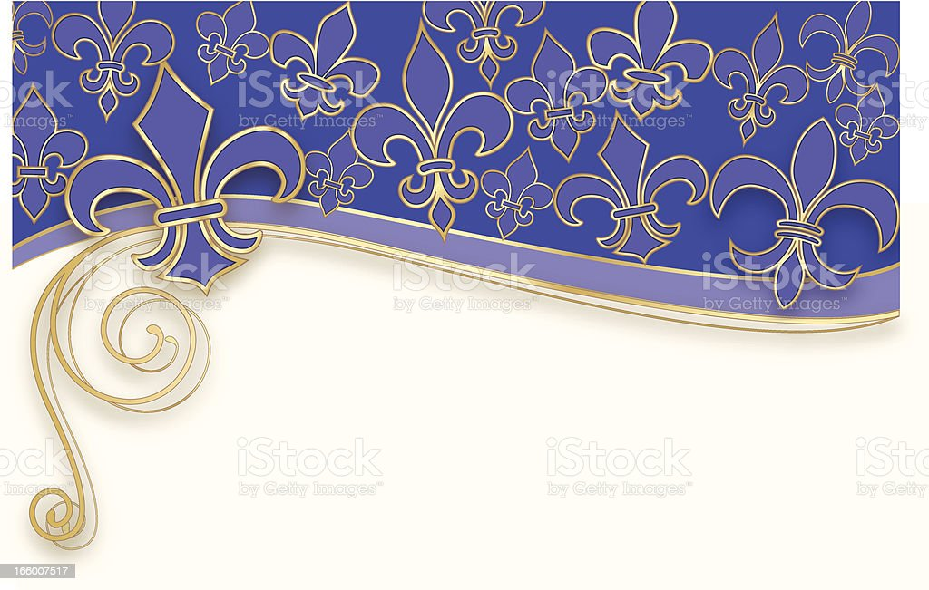 Blue, white and gold Fleur de Lis pattern royalty-free stock vector art