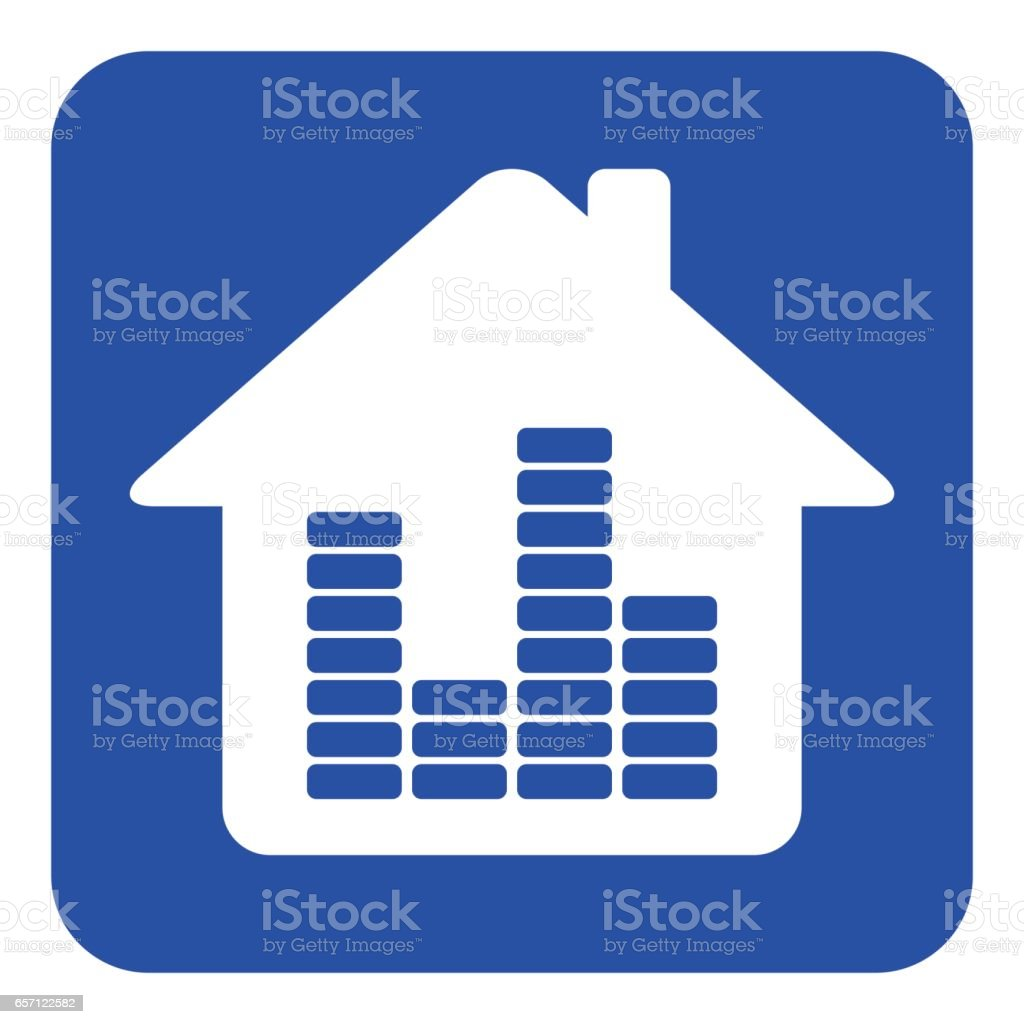 blue, white information sign, house with equalizer vector art illustration