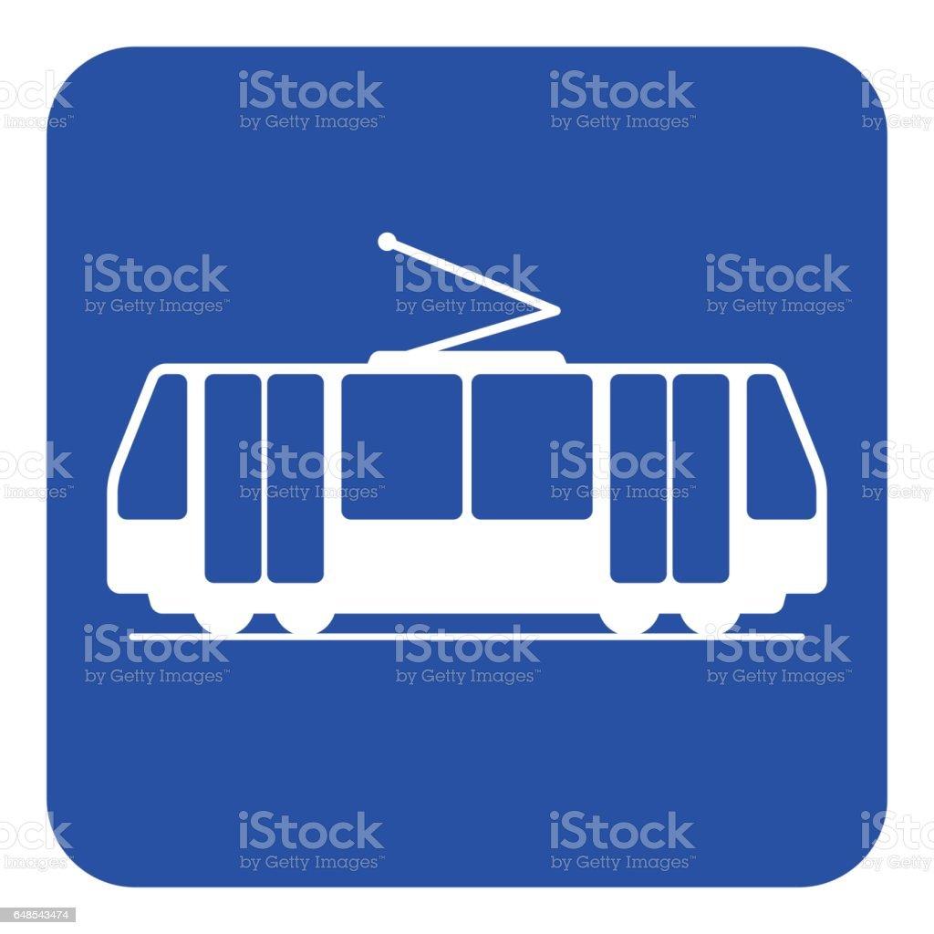 blue, white information sign - tram icon vector art illustration