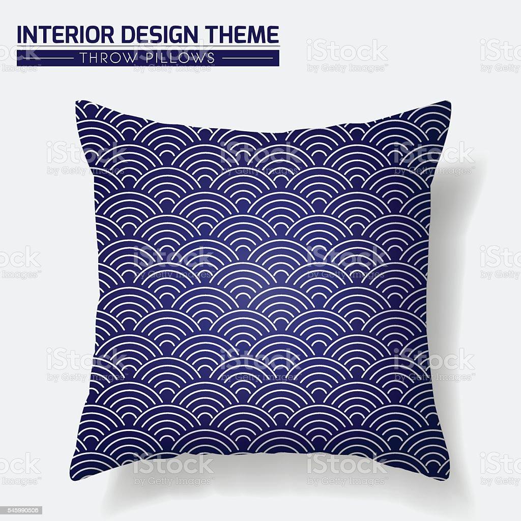 Blue & White Throw Pillow design in Japanese Style vector art illustration