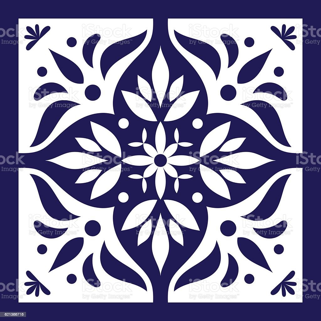 Blue white tile vector. Delft dutch vector art illustration