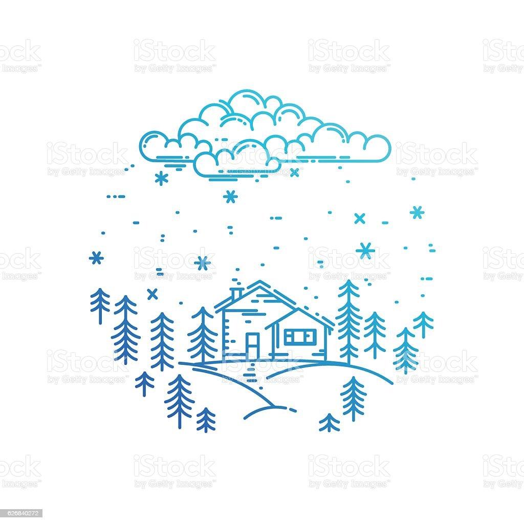 Blue winter landscape in round composition. vector art illustration