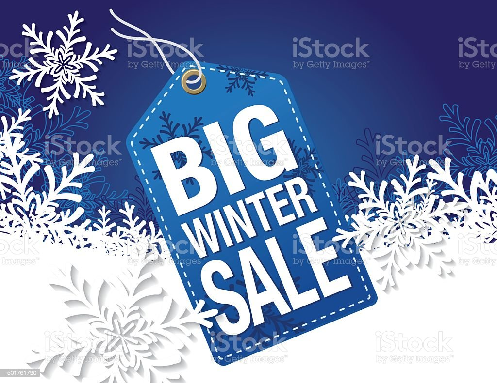 Blue Winter Sale Tag Advertisement vector art illustration