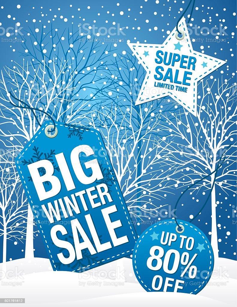 Blue Winter Sale Tag Advertisement vector art illustration