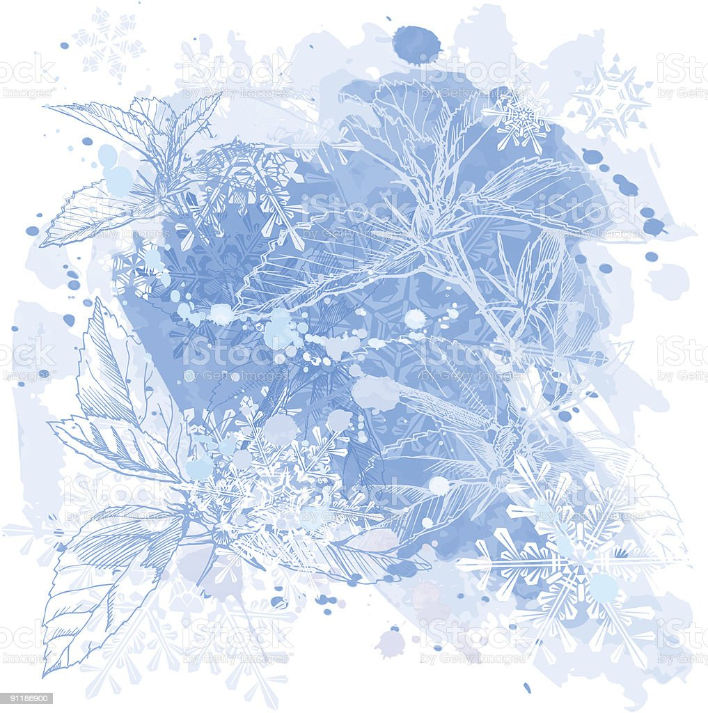 Blue winter watercolor background royalty-free stock vector art