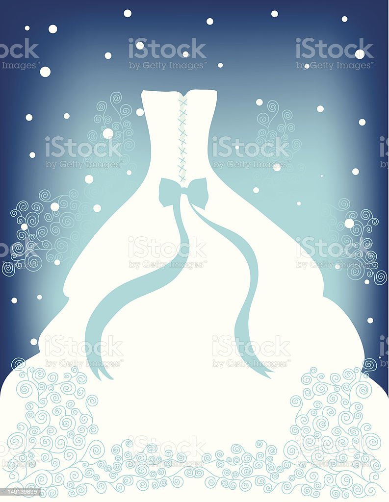 Blue Winter Wedding vector art illustration