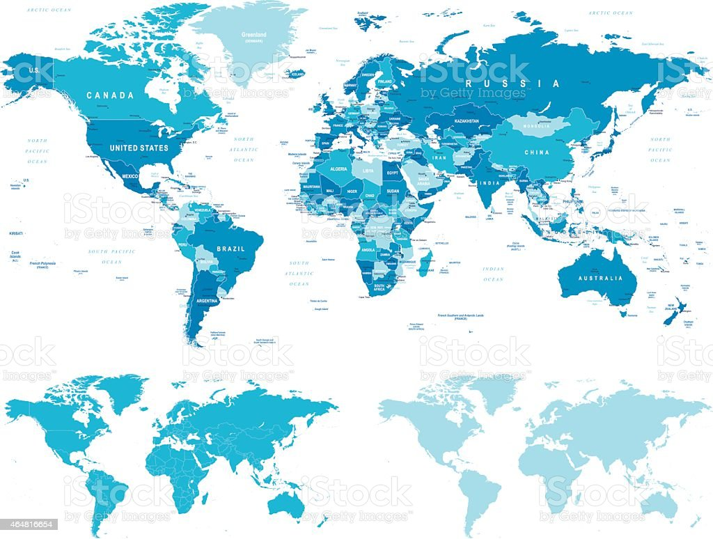 Blue World Map - borders, countries and cities - illustration vector art illustration